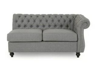 Amberside Fabric Tufted Chesterfield Sectional by Christopher Knight Home   Dark