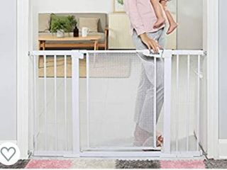 Heele 29 5 51 5 Inches Extra Wide Auto Close Baby Gate w Metal Mesh Easy Walk Thru Swing Door Child Gates for Stair Doorway Kitchen Indoor Safety Gate for Kids or Pets Pressure Hardware Mounted