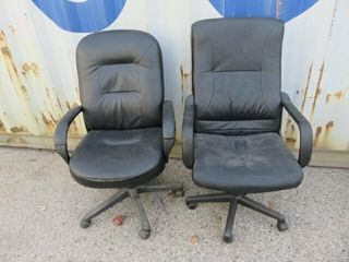 3  Assorted Black Vinyl Highback Chairs