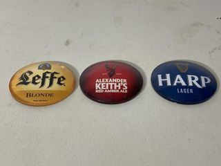Beer Buttons   leffe  Keiths   Harp
