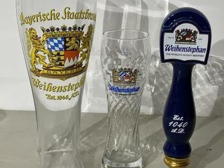 Weihenstephan Tap Handle   Two Very large Glasses