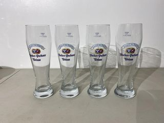Hacker Pschorr Weisse Tall Beer Glasses x 4