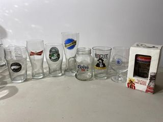 American Beer Glass Collection x 8