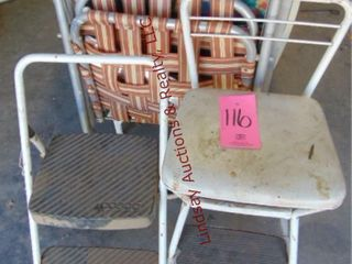 2 lawn chairs  step stool    regular stool
