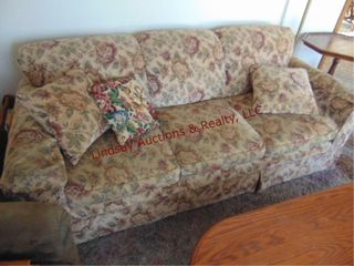 Floral sofa w  pillows 84 x 36 x 33