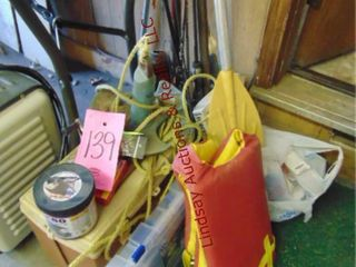 large lot of fishing   boating items  poles  bait