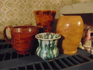 4 ceramic pots vases  Believed to be handmade