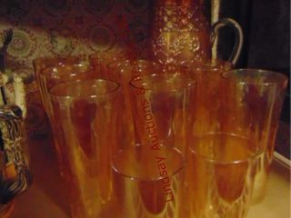11pcs orange glass  pitcher  8 glasses