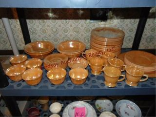 Approx 55 pcs orange glass  bowls  plates  cups