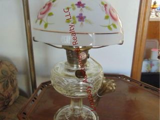 Kerosene lamp w  floral glass shade
