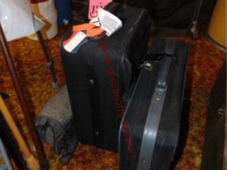 2 suitcases   garment bag