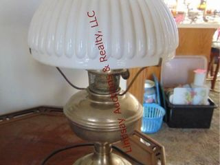 Metal Aladdin No  11 kerosene lamp w  shade