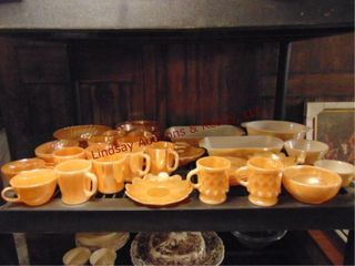 Approx 36pcs orange glass  cups  saucers  bowls