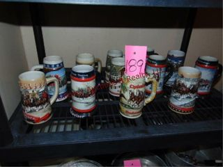 12 Collector s Budweiser steins  various years