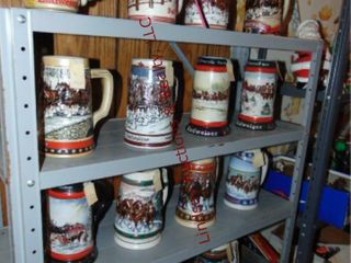 15 Collector s Budweiser steins  ranging 1983 1997