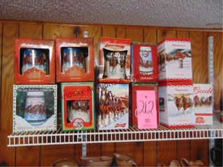 11 Collector s Budweiser steins  in boxes
