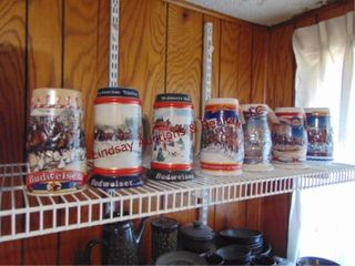 9 Collector s Budweiser steins  in boxes