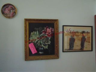 3 framed pictures  2 floral   1 w  2 boys