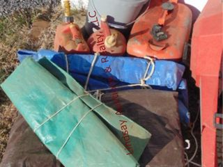 3 tarps  3 gas cans  bucket misc