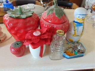 7pcs  2 large strawberry cookie jars  1 sugar bowl