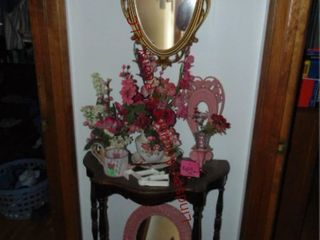 Group of decor items  wood side table  2 mirrors