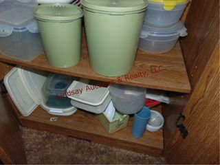 2 shelves of plastic food storage   others