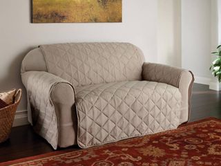 Innovative Textile Solutions 1 Piece Microfiber Solid Ultimate loveseat Furniture Cover Slipcover  Natural