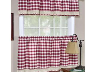 Achim Buffalo Check Kitchen Curtains  Set of 2 Tiers  58 x 36  Burgundy
