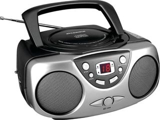 Sylvania SRCD243M Portable CD Boom Box with AM FM Radio   Black FRONT PlATE NO lONGER ATTACHED BUT IS IN BOX