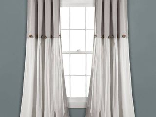 95 x40  linen Button light Filtering Window Curtain Panel Gray White   lush DAccor 1 PANEl
