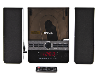 Craig Vertical CD Shelf System with AM FM Stereo Radio and Dual Alarm Clock  3 Piece Black  CM427