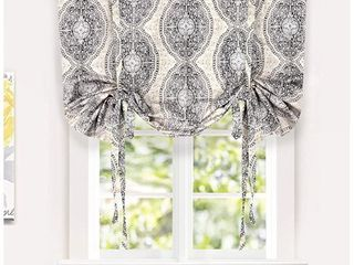 DriftAway Adrianne Tie Up Curtain Damask Floral Pattern Thermal Room Darkening Insulated Blackout Window Curtain Adjustable Balloon Curtain Shade for Small Window Rod Pocket Single 45 x63 Beige Gray