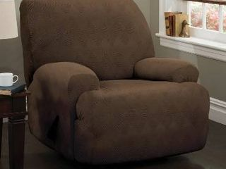 Stretch Sensations 4 Piece Stretch Optic Jumbo Recliner Slipcover  Chocolate