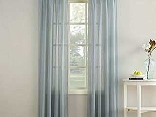 No  918 Erica Crushed Texture Sheer Voile Rod Pocket Curtain Panel  51  x 84  Charcoal Gray 2 panels