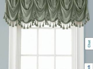 Bridget Crushed Satin Waterfall Valance With Decorative Fringe  Sage  48x37 Inch