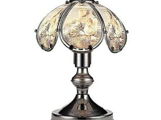 14 25 Inch Touch lamp  3 WAY TOUCH CONTROl  40 watt lIGHT BUlB INClUDED   23 5 h Maria and Angel Theme Glass Black Chrome Base Touch lamp