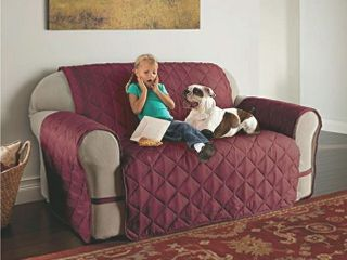 Innovative Textile Solutions 1 Piece Microfiber Solid Ultimate loveseat Furniture Cover Slipcover  Burgundy