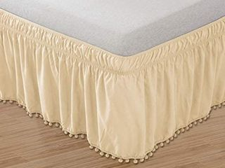 Elegant Comfort POM POM BedSkirt Twin Full Cream Top Knot Tassle Pompom Fringe Ruffle Skirt Around Style Elastic Bed Wrap Wrinkle Resistant 16  Drop  Twin Full