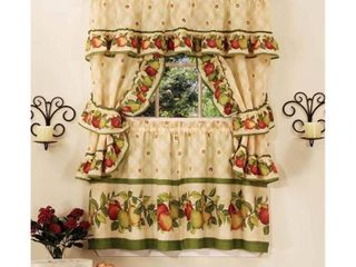 Cottage Kitchen Curtain and Swag Set  Apple Orchard