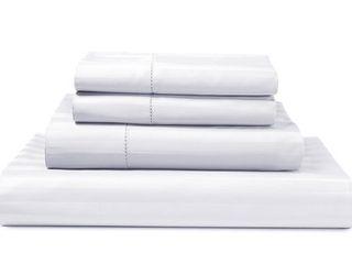luxury 500 Thread Count 100  Pima Cotton Damask Stripe 4 Piece Sheet Set  King   White