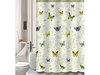 Kashi Home Maria 15pc Butterfly Printed Bathroom Accessory Shower Curtain   Rugs Set