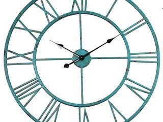 Utopia Alley Cl8Bl 30 in  dia  Round Oversized Roman Wall Clock  Distressed Sea Green