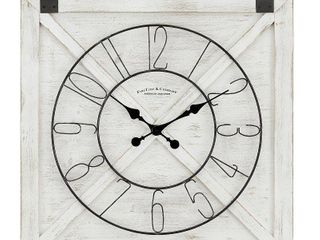 27  x 29  Farmhouse Barn Door Wall Clock Weathered White   FirsTime   Co