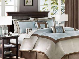 Blue Beverly Polyoni Comforter Set California King 7pc