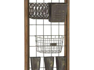 Decmode   large Rectangular Wood Wall Rack with Six Metal Baskets  20  x 32
