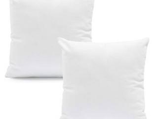 Set of 2 Plain White Square Throw Pillows