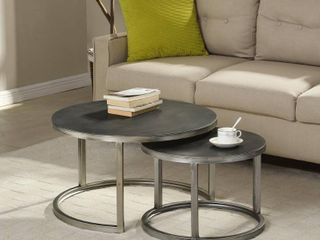 FirsTime   Co  Hayes Silver Nesting Coffee Table 2 Pc Set   27 5  x 16  Aged Silver