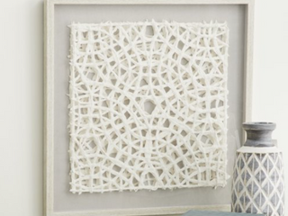 23 5  White Hand Cut Paper Abstract Art Shadow Box in Square White Frame   24 x 1 x 24  Retail 79 98