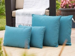 Pouf Coronado Outdoor Pillow  Set of 4  by Christopher Knight Home