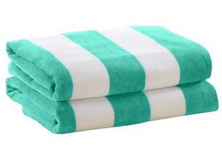 Great Bay Home Plush Cabana Stripe Velour 30  X 60  Beach Towel  Set of 2 Bedding